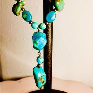 "💍16"" Turquoise Composite and Gold Tone Necklace!"